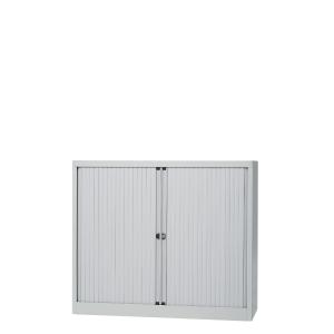 Lage roldeurkast met 2 legborden 120 x 103 x 43 cm lichtgrijs