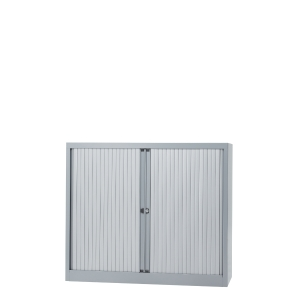 Cupboard low with 2 shelves 120 x 103 x 43 cm aluminium grey