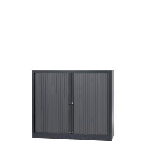 Lage roldeurkast met 2 legborden 120 x 103 x 43 cm antraciet