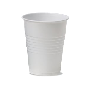 Plastic disposable cups 18 cl white - box of 3000