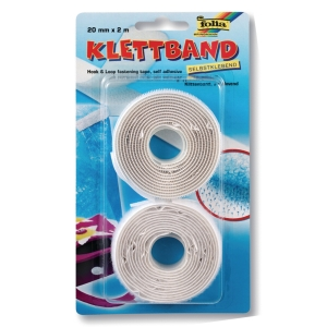 Velcro tape 20 mm x 2 m white - pack of 2