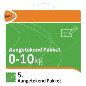 Aangetekend Pakketzegel t/m 10 kg (set van 5 stuks)