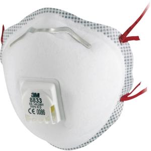 3M 8833 mondmasker met ventiel FFP 3 - doos van 10