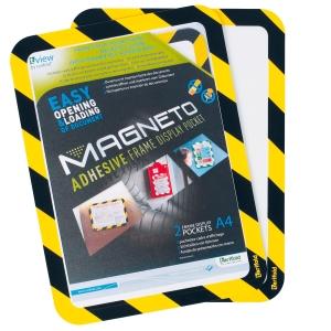 Magnetische zelfklevende kader A4 zwart/geel - pak van 2