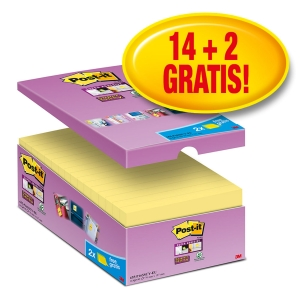 Post-it® Super Sticky Notes Voordeelpak 655-P16 76x127mm geel, 14 + 2 GRATIS