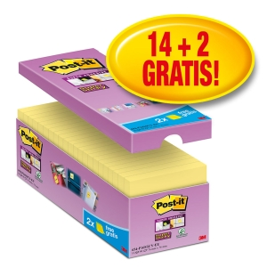 Post-it® Super Sticky Notes Voordeelpak 654-P16 76x76mm geel, 14 + 2 GRATIS