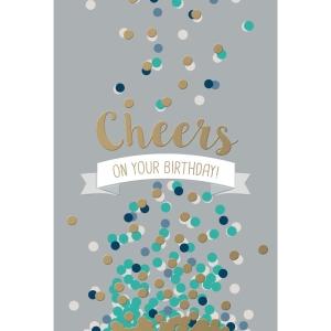 Wenskaarten gelukkige verjaardag -cheers -  pak van 6