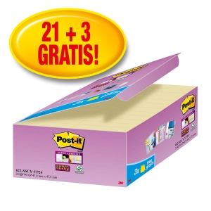 Post-it® Super Sticky Notes Voordeelpak 622-P24 47,6x47,6mm geel, 21+3 GRATIS