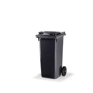 Citec container met rubberen wielen en grijs deksel 120 l
