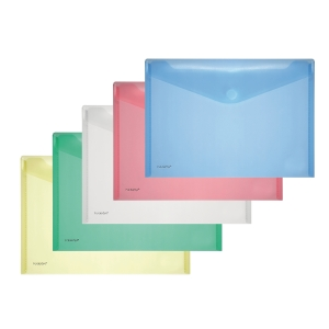 A4 FolderSys transparant PP Envelopes Assorted colours Pack of 10
