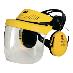 3M G500 Headgear combination yellow - Faceshield SF-11 + Peltor Optime I earmuff