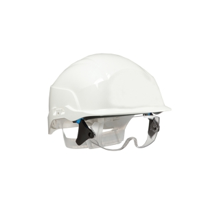 Conturion Spectrum vented safety helmet + integrated glasses - white