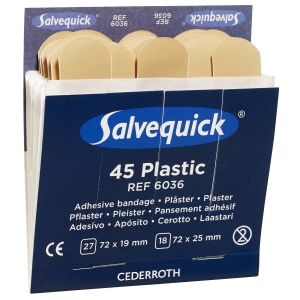 Salvequick 6036 navulling plasticpleisters voor pleisterdispenser, pak van 45