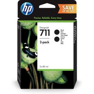 HP 711 (P2V31A) inkt cartridge, zwart, hoge capaciteit, 2 x CZ133A