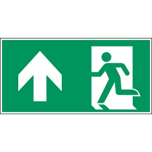 Brady zelfklevend pictogram A0/E001 nooduitgang links rechtdoor 400x200mm