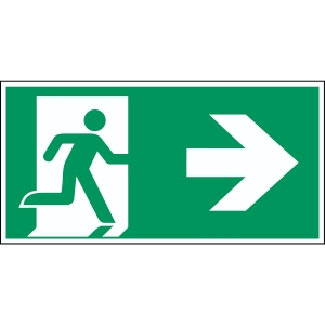 Brady pictogram self adhesive A90/E002 Emergency exit right arrow 210x105mm