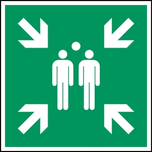 Brady pictogram bidirectional E007 Evacuation assemply point 203x203 mm