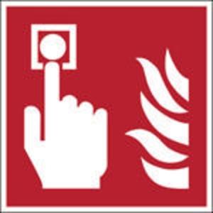 Brady  F005 brandmelder pictogram, 100 x 100 mm, zelfklevende sticker, per stuk