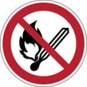Brady zelfklevend pictogram P003 Vuur, open vlam en roken verboden 200mm