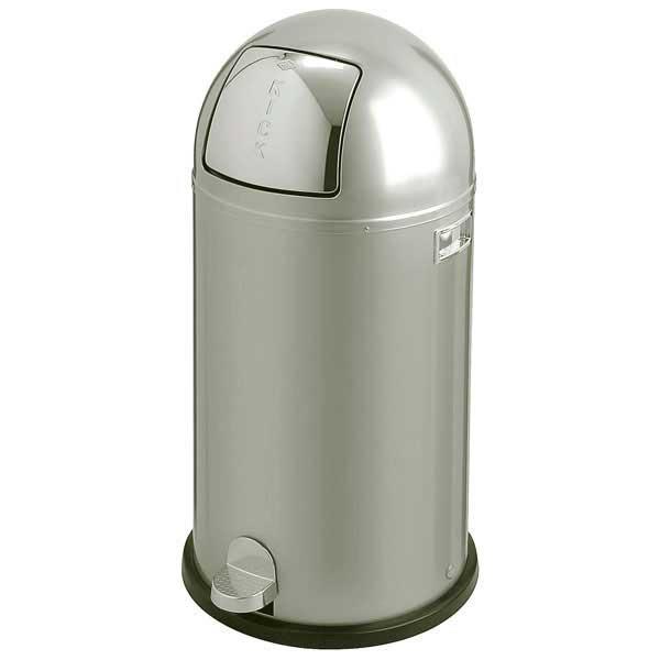 Wesco Kickmaster Zilver.Wesco Kickboy Waste Bin Metal Waste Bin 40 Litres Aluminium