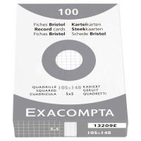 ETUI 100 FICHES BRISTOL NON PERFOREES EXACOMPTA 5X5 205G 105X148MM BLANC