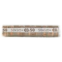PAQUET DE 250 ETUIS A MONNAIE PVC TRANSPARENT REUTILISABLES 1 CENTIME D EURO