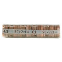 PAQUET DE 250 ETUIS A MONNAIE PVC TRANSPARENT REUTILISABLES 2 CENTIMES D EURO
