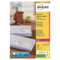 BOITE 2400 ETIQUETTES ADRESSES RECYCLEES LASER AVERY 63,5x33,9MM BLANCHES LR7159