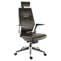 FAUTEUIL DE DIRECTION CUIR SEDNA SYSTÈME SYNCHRONE TETIERE INCLINABLE CHOCOLAT