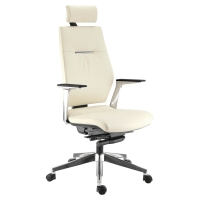 FAUTEUIL DE DIRECTION CUIR SEDNA SYSTÈME SYNCHRONE TETIERE INCLINABLE IVOIRE