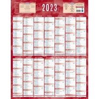 CALENDRIER MURAL 14 MOIS 55X43 VERTICAL ROUGE