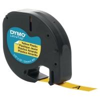 RUBAN PLASTIQUE POUR DYMO LETRATAG 12 MM X 4 M JAUNE 91202