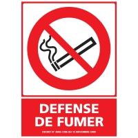 INDICATEUR DE DEFENSE DE FUMER ADHÉSIF 150 X 210 MM