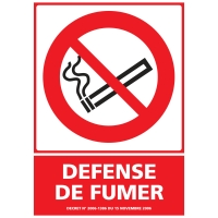 INDICATEUR DE DEFENSE DE FUMER EN PVC  150 X 210 MM