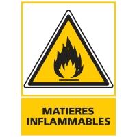 INDICATEUR DE MATIÈRES INFLAMMABLES ADHÉSIF 150X210 MM