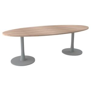 TABLE OVALE MELAMINE L240 AVEC 2 PIEDS COLONNE PLATEAU ORME PEGASUS QUADRIFOGLIO