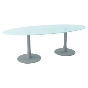 TABLE OVALE VERRE L230 AVEC 2 PIEDS COLONNE ALU PEGASUS