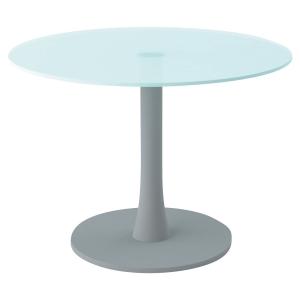 TABLE RONDE VERRE DIAMETRE 100CM AVEC PIED COLONNE ALU PEGASUS