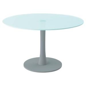 TABLE RONDE VERRE DIAMETRE 120 AVEC PIED COLONNE ALU PEGASUS QUADRIFOGLIO