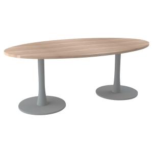 TABLE OVALE MELAMINE L200 AVEC 2 PIEDS COLONNE PLATEAU ORME PEGASUS QUADRIFOGLIO