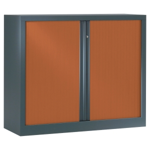 ARMOIRE DEMONTABLE A RIDEAUX 100*120 ANTHRACITE/MERISIER