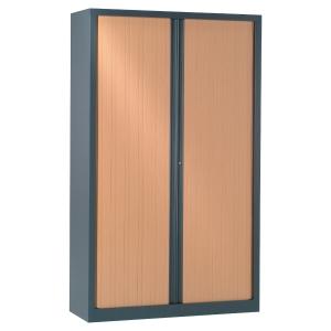 Armoire à rideaux démontable Pierre Henry - 198 x 120 cm - anthracite/hêtre