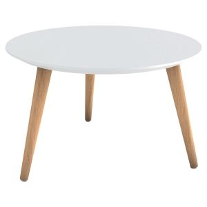 TABLE ANKA BASSE RONDE BLC PIEDS EN BOIS