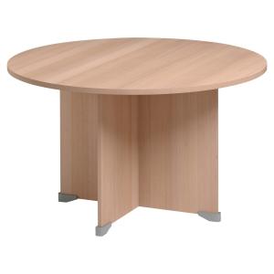 Table de réunion ronde Jazz pieds panneaux finition hêtre 120 cm