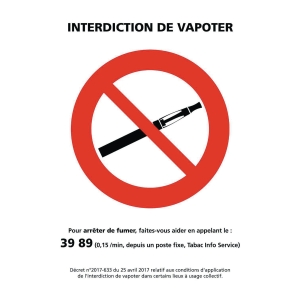 PANNEAU INTERDICTION DE VAPOTER A5 PVC