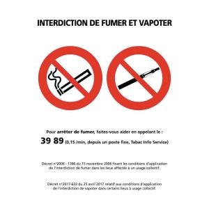 Panneau interdiction de fumer et vapoter adhésif A5