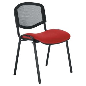 Siège 4P dossier résille - Assise rouge - Empilable
