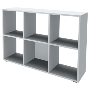 BIBLIOTHEQUE 6 CASES BLANC PERLE