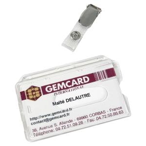 BADGE PORTE-CARTE MAGNETIQUE PLASTIQUE AVEC PINCE GEMCARD 8,6X5,4CM