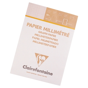 BLOC 50 FEUILLES PAPIER MILLIMETRE BISTRE A4 CLAIREFONTAINE 90G 18X28 97135